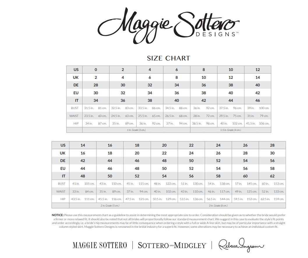 Size Chart Cm Maggie Sottero Wedding Dress Ashley 7ms410 Onward Casablanca Bridal